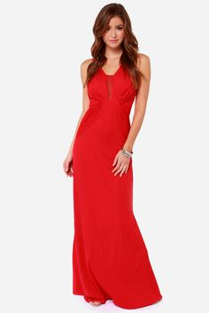 80745fa3cc7 Bariano Sophia Red Mesh Maxi Dress