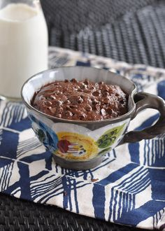 "Chocolate Almond Microwave Mug Cake- This is absolutely genius! Single serving, homemade microwave cake! Made from almond butter so you can feel good about your ""treat."""