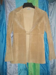 WOMENS VINTAGE LEATHER JACKET M Medium WETSEAL Beige Suede Open Long Blazer #Wetseal #BasicJacket