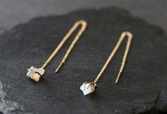 Raw Opal Thread Earrings