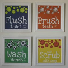 Kids Bathroom Art Bathroom Rules Art Prints Sports Decor Basketball Baseball Soccer Tennis Brush Floss Scrub Flush Bath