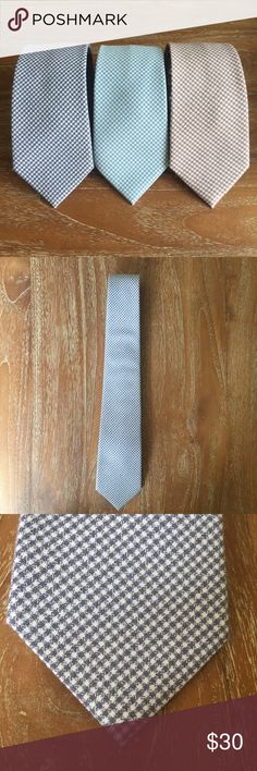 "Two Color Plaid Cotton Ties Left: ""Why Knot"" (5 left) Middle: ""Eyes On You Blue"" (6 left) Right: ""Demo Day"" (4 left)  $30 per tie or bundle and save 20%. All ties are brand new, approximately 58.5 inches long and 3 inches wide, and handmade in Korea. Ask me any questions. These are going FAST! Accessories Ties"