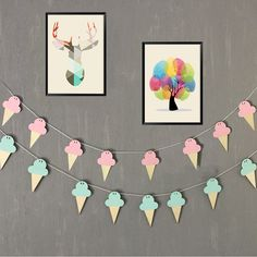 10pcs Ice Cream woodchips set DIY wood banner wall hanging for kids bedroom wall decor bed background decor banner Home Decor