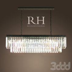RH/ 1920S ODEON GLASS FRINGE RECTANGULAR CHANDELIER SMALL IRON