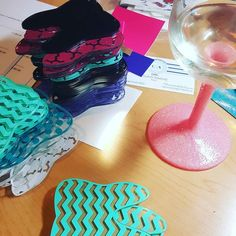 No rest for the weary! This was my Friday night...mmmm moscato d'asti!  #workinghard #keychains #wine #glitterdipped