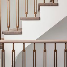 Solid oak treads with matching turned handrail with bronze finished art-deco inspired spindles. A classic yet modern creation. Staircase Railing Design, Interior Stair Railing, Modern Stair Railing, Staircase Handrail, Home Stairs Design, Modern Stairs, Home Room Design, Banisters, Staircases