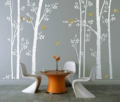 Leafy Trees in White - Wall Stickers. Buy online today at Bouf Tree Decals, Vinyl Wall Decals, Silver Walls, White Walls, White Wall Stickers, Tree Wall, Wall Décor, Wall Art, Of Wallpaper