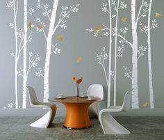 leafy trees white wall sticker by zazous   notonthehighstreet.com