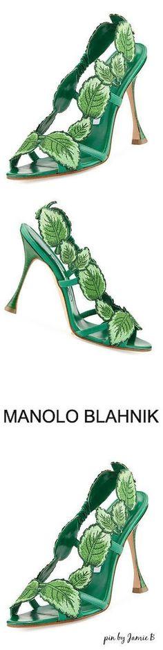 Manolo Blahnik | Climatida Leaf Embroidered Sandal, Green #manoloblahnikheelsbeautiful #manoloblahnikheelsladiesshoes #manoloblahnikheelszapatos