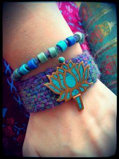 PULSERA flor de loto se vislumbraba loto azul turquesa con incrustaciones de Nepal joyería Yoga colorido de etnia gitana bohemio Hippie puls...