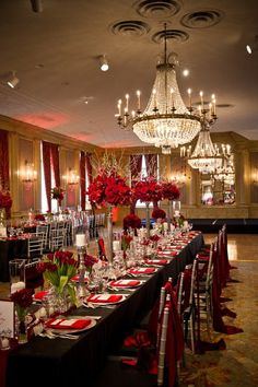 Modern Black Red Silver Ballroom Centerpieces Indoor Reception Place Settings Tablescape Texas Winter Wedding Reception Photos & Pictures - WeddingWire.com