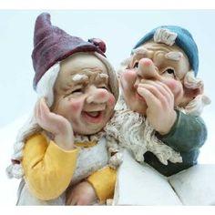 "Large 12"" Garden Gnomes Ornament - Mr & Mrs Gnome Couple Reading"