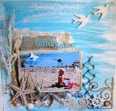Sand Cakes - sand, shells, grass, starfish and burlap are used to create this fun beach themed layout Scrapbook.com