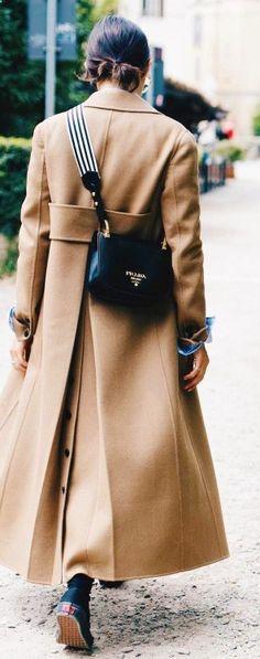camel coat, pradabag