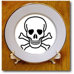 #SandyMertens #Halloweenplates Skull and Crossbones  #Plates  #Porcelainplate #decorativeplate #3drose