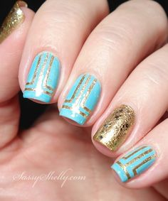 Modern Nail Art Design - gold and blue tape mani tutorial -inspired by The Nailasaurus | Sassy Shelly