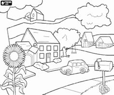 Houses 17 Printable Jigsaw to cut out 4 pieces. Activities for kids House Colouring Pages, Online Coloring Pages, Printable Coloring Pages, Coloring Pages For Kids, Coloring Sheets, Adult Coloring, Coloring Books, Art Drawings For Kids, Outline Drawings