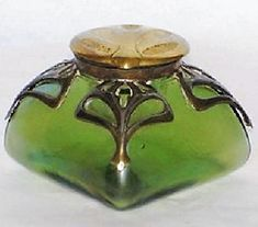 Inkwell by C. Antique Perfume Bottles, Vintage Bottles, Art Nouveau, Jugendstil Design, Beautiful Perfume, Fountain Pen Ink, Bottle Vase, Antique Glass, Shades Of Green