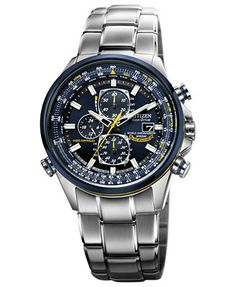 Citizen Men's Eco-Drive Blue Angels World Chronograph A-T Stainless Steel Bracelet Watch 43mm AT8020-54L - Citizen's at MACYS's!