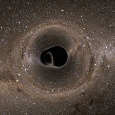 simulated images of the lensing effects of not just one, but two black holes, trapped in orbit by each other's gravity and ultimately doomed to merge as one