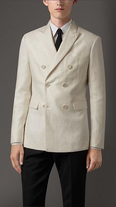 Burberry London Natural white Double-Breasted Linen Jacket - A double-breasted jacket in linen. The jacket has a half-canvas construction with several layers of natural horsehair. Expertly cut and shaped, the canvas creates a structured chest, soft lapel roll and a tailored collar. Discover the men's tailoring at Burberry.com