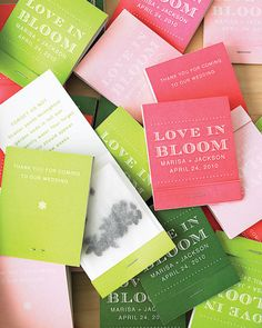 DIY Seed Matchbook Wedding Favors