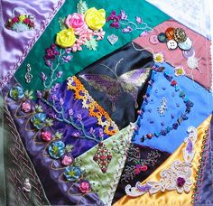 I ❤ ribbon embroidery & crazy quilting . . . Joggle's Crazy Quilt Glass ~By craftymainer@verizon.net