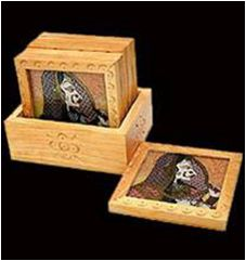 Wooden Gemstone Coaster  Size : 7.5 cm  Description : Wooden coaster with gemstone bani thani painting. it is the perfect item for table top and interior decor.