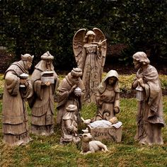 """This earthy finished resin resembles wooden carved statues. Perfect for use as an outdoor nativity set for your lawn or garden. The words """"Love,"""" """"Hope,"""" and """"Truth"""" are engraved in each Holy Family figure. The Flourish Nativity collection by. Christmas Jesus, Christmas Nativity Scene, Christmas Yard, Nutcracker Christmas, Christmas Night, Nativity Scenes, Christmas Ideas, Commercial Christmas Decorations, Outdoor Christmas Decorations"""