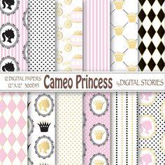 Baby Girl Digital Paper: CAMEO PRINCESS Princess by DigitalStories