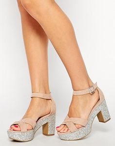 New Look Wide Fit | New Look Wide Fit Teeny Nude Glitter Sole Heeled Sandals at ASOS
