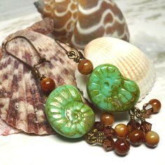 Green Turquoise Ammonite and Bronze Mother of Pearl Dangle Earrings | KatsAllThat - Jewelry on ArtFire