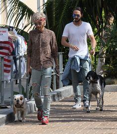 June 28, 2016 - Bill & Tom Kaulitz hanging around with the dogs
