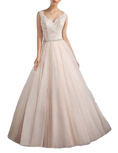 OYISHA Women's Lace Wedding Dress V-neck Floor Length Beaded Bridal Gown WD012 Blush Customization