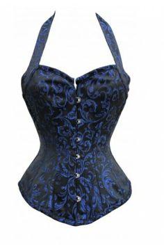 8654f74527 Blue and Black Brocade Halterneck Overbust - bleu et noir Brocade Overbust  Halterneck