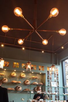Trendy light fixture for an industrial-looking space, like a student coffee house.