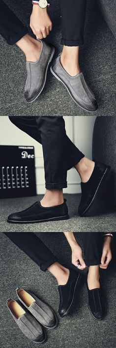 New Arrival Men Casual Shoes Mens Flats Smoking Grey Suede Shoes Anti Slip Lace-Up Oxford Moccasins Plus Size Shoes