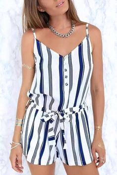 c42f8ef5a6d Rock out with your elegant vertical striped summer romper in this HOT  summer! Enjoy yourself at OASAP!