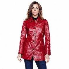 IMAN Platinum Genuine Leather Quilted Car Coat Designer Leather Jackets, Suits, Red Leather, Clothes, Colour, Shopping, Fashion, Outfits, Color