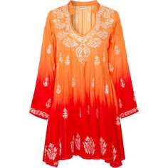Juliet Dunn Embroidered Silk Dress (2.113.925 COP) ❤ liked on Polyvore featuring dresses, orange, embroidered dress, silk embroidered dress, red embroidered dress, orange dresses and red orange dress