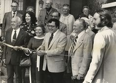 Local dignitaries including former Congressman John LaFalce (center) gather in 1977 for the ribbon-cutting ceremony for the Ward House at the Cobblestone Museum in Childs. Bill Lattin, right, was the long-time curator and director of the museum and helped save several sites at Cobblestone Museum. The museum is a National Historic Landmark, the only location in the county with that designation.