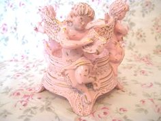 VERY Ornate 3 Cherub Angels Shabby Chic Pink Candle Holder Taper Globe Votive Chippy Distressed Carved Putti Victorian Cottage Lyre Etc by VintageChicPleasures on Etsy