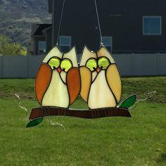 Stained glass owl suncatcher, love birds sun catcher, brown owl stain glass by FoxStainedGlass on Etsy