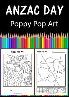A fun, effective art activity for your students when celebrating Anzac Day.Draw some patterns on the poppy / background and colour it different templates are included: TEMPLATE 1 and 2 the patterns are given in the boxes at the base of the sheet. Poppy Craft For Kids, Art For Kids, Crafts For Kids, Remembrance Day Activities, Remembrance Day Art, Anzac Day For Kids, Poppy Template, Painting Sheets, Australia Crafts