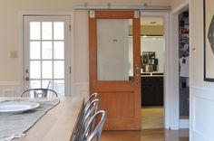 Door, Eclectic Dining Room With Cool Barn Doors Sliding With Window Also Wooden Dining Table And Aluminum Dining Chairs Also Laminate Floor And Traditional White Door With Windows: Industrial House Decor with Barn Doors for Homes Small Basement Remodel, Basement Remodeling, Basement Storage, Kitchen Remodel, Barn Door In House, Wooden Bathroom, Wooden Dining Tables, Piece A Vivre, White Doors