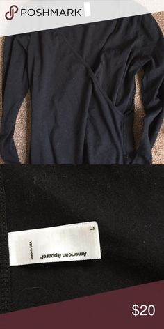 Plunge Bodysuit Deep Plunge Black Crossover Bodysuit. Size Large. Brand American Apparel. American Apparel Tops Tees - Long Sleeve