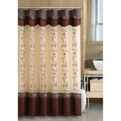 Shop for VCNY Daphne Beige and Gold Shower Curtain. Get free delivery On EVERYTHING* Overstock - Your Online Shower Curtains & Accessories Store! Curtains With Attached Valance, Shower Curtain With Valance, Gold Shower Curtain, Cool Shower Curtains, Burgundy Curtains, Gold Curtains, Floral Curtains, Colorful Curtains, Window Curtains