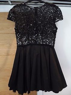 JONES AND JONES Black Sequin Skater Dress UK12