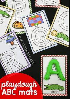 ABC playdough mats! What a fun way to work on letter names, letter sounds and letter formation in preschool or kindergarten. Fun ABC activity.