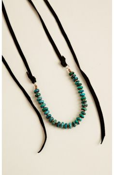 Turquoise, brass, and leather Laurel Canyon necklace